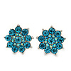 Light Blue Diamante Floral Stud Earrings In Silver Plating - 18mm Diameter