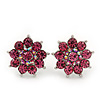 Pink Diamante Floral Stud Earrings In Silver Plating - 18mm Diameter