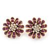Purple Enamel Diamante Layered Stud Earrings In Gold Plating - 22mm Diameter