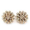 White Enamel Diamante Layered Stud Earrings In Gold Plating - 22mm Diameter