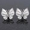 Small White Enamel Diamante Butterfly Stud Earrings In Silver Finish - 18mm Length