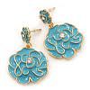 Light Blue Enamel 'Rose' Drop Earrings In Gold Plating - 4cm Length