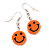 Children's Small Bright Orange 'Happy Face' Acrylic Drop Earrings In Silver Plating - 3cm Length