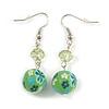 Green Acrylic Drop Earrings In Silver Plating - 4.5cm Length
