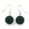 Emerald Green Swarovski Crystal Ball Drop Earrings In Silver Plated Finish - 12mm Diameter/ 3cm
