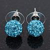 Light Blue Swarovski Crystal Ball Stud Earrings In Silver Plated Finish - 9mm Diameter