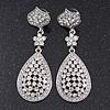 Swarovski Crystal Teardrop Earrings In Silver Plating - 7cm Length