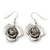 Silver Plated 'Rose' Drop Earrings - 4cm Length