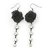 Black Mesh Crystal 'Rose' Drop Earrings - 8cm Length