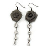 Dim Grey Mesh Crystal 'Rose' Drop Earrings - 8cm Length