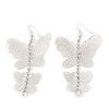 Long Lightweight Filigree Diamante 'Butterfly' Earrings In Silver Plating - 8cm Length