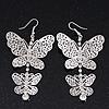 Long Lightweight Filigree Diamante 'Butterfly' Earrings In Silver Plating - 8cm Length