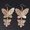 Long Lightweight Filigree Diamante 'Butterfly' Earrings In Gold Plated Metal - 8cm Length
