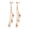 Long Diamante Dangle Earrings In Gold Plating - 11cm Length
