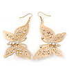 Large Diamante Filigree 'Butterfly' Drop Earrings In Gold Plating - 8.5cm Length