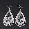 Silver Plated Crystal Filigree Teardrop Earrings - 6.5cm Length