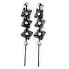 Long Black Floral Filigree Drop Earrings - 12.5cm Length