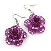3D Purple Diamante 'Rose' Drop Earrings In Silver Plating - 5cm Length