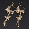 Long Delicate Filigree Butterfly Drop Earrings In Gold Plating - 13cm Length