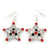 Red/Green/White Crystal 'Christmas Star' Drop Earrings In Silver Plating - 5cm Length