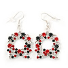Red/Green/White Crystal Christmas Holly Wreath Drop Earrings In Silver Plating - 5cm Length