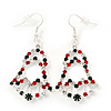 Red/Green/White Christmas Crystal Jingle Bell Drop Earrings In Silver Plating - 5.5cm Length