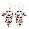 Green/Red/White Crystal 'Santa' Christmas Drop Earrings In Silver Plating - 6cm Drop