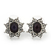 Small Black/Clear Diamante Stud Earrings In Silver Plating - 15mm In Length