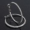 Clear Crystal Classic Hoop Earrings In Rhodium Plating - 4cm Diameter