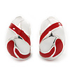 Red/White C-Shape Geometric Enamel Clip-on Earrings In Rhodium Plating - 20mm