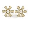 Cream Enamel Simulated Pearl Flower Stud Earrings In Gold Plating - 2cm D
