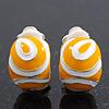 Yellow/White Enamel C-Shape Clip-on Earrings In Rhodium Plating - 15mm Length