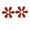 Red Enamel Simulated Pearl Flower Stud Earrings In Gold Plating - 2cm Diameter