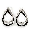 Black/Clear Crystal Open Teardrop Stud Earrings In Silver Plating - 3cm Length