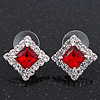 Red/Clear Crystal Square Stud Earrings In Silver Plating - 15mm Diameter