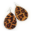 Large Resin 'Animal Print' Teardrop Earrings In Silver Plating - 7cm Length