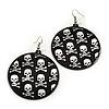 Black Round Metal 'Skull&Crossbones' Drop Earrings In Silver Plating - 6cm Length
