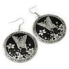 Black/Silver Round 'Butterfly' Drop Earrings - 6cm Length
