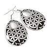 Silver/Black Cut-Out Floral Oval Hoop Earrings - 6.5cm Length