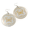 Metallic Silver Round 'Butterfly' Drop Earrings - 6cm Length