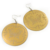 Gold Round 'Butterfly' Drop Earrings - 6cm Length