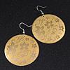 Gold/Yellow Floral Hoop Earrings - 6cm Length