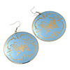 Light Blue Round 'Butterfly' Drop Earrings - 6cm Length