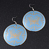 Light Blue Round 'Butterfly' Drop Earrings - 6cm Length