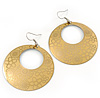 Gold/Yellow Cut-Out Floral Hoop Earrings - 6cm Length