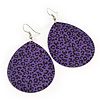 Long Violet 'Animal Print' Teardrop Metal Earrings - 6.5cm Length