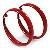 Medium Red Enamel Hoop Earrings - 55mm Diameter