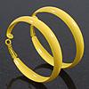 Large Bright Yellow Enamel Hoop Earrings - 55mm Diameter
