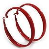 Large Burgundy Red Enamel Hoop Earrings - 6cm Diameter