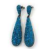 Luxury Teal Crystal Teardrop Earrings In Black Tone Metal - 7.5cm Length
